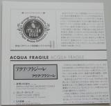 Acqua Fragile - Acqua Fragile, Lyric book