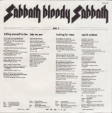 Black Sabbath - Sabbath Bloody Sabbath, inner sleeve back