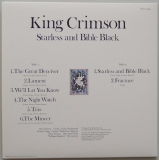 King Crimson - Starless and Bible Black, Back cover