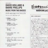 Holland, Dave/Phillips, Barre - Music From Two Basses, Insert