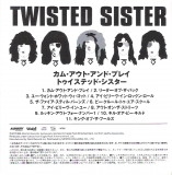 Twisted Sister - Come Out And Play, Japanese insert