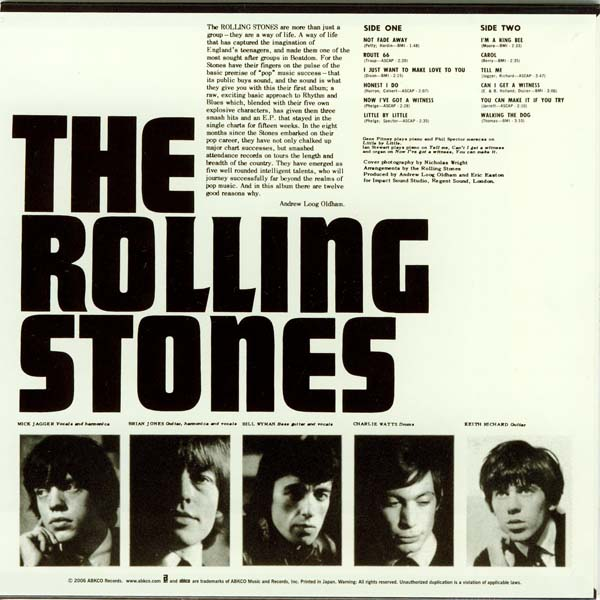 Back cover, Rolling Stones (The) - England's Newest Hit Makers