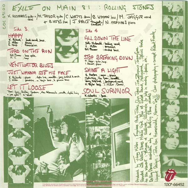 Card with images of inner sides 3 and 4, Rolling Stones (The) - Exile on Main Street