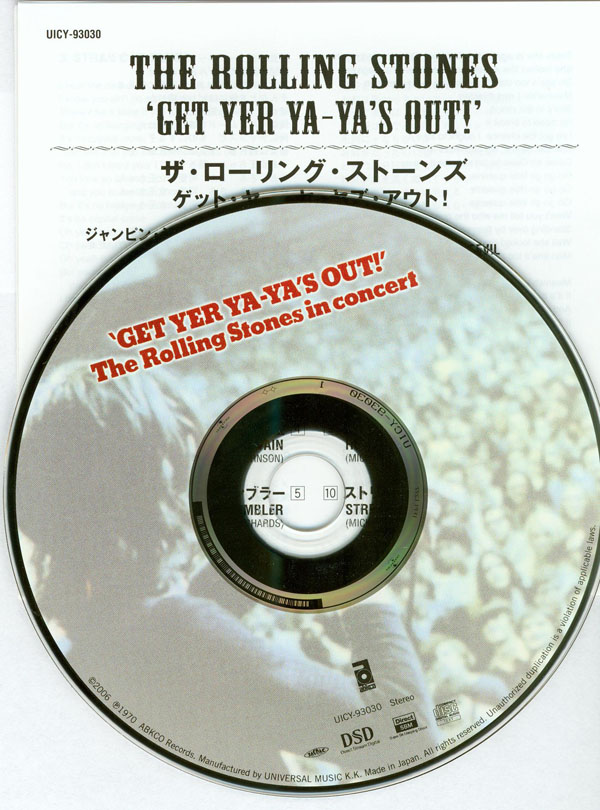 Inserts and CD, Rolling Stones (The) - Get Yer Ya-Ya's Out!