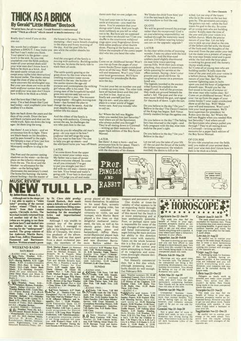 St Cleve Chronicle - Page 7 (Lyrics), Jethro Tull - Thick As A Brick +2