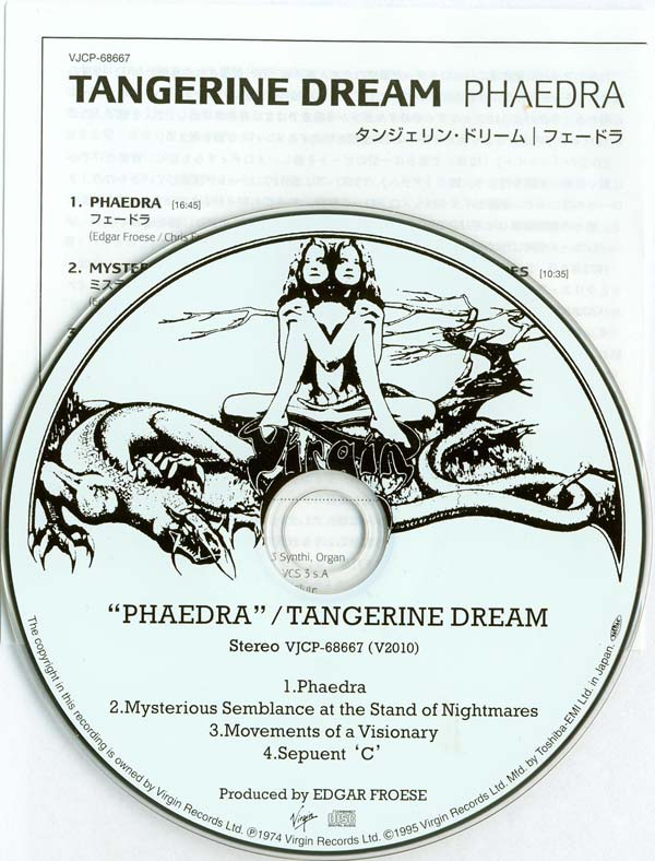CD and insert, Tangerine Dream - Phaedra