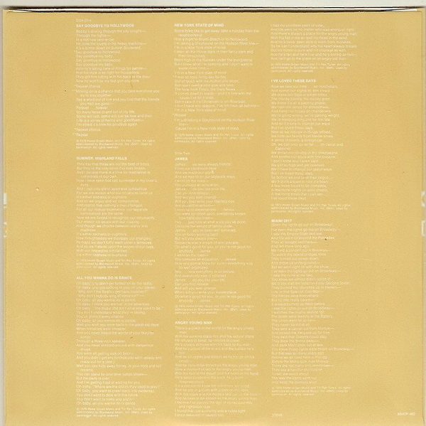 Lyric Sleeve for Disc - Side 1, Joel, Billy - Turnstiles
