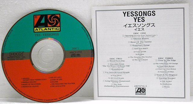 CD1 and Japanese booklet, Yes - Yessongs